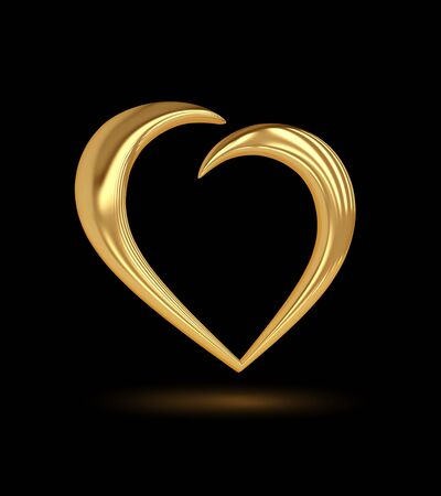 Golden heart icon on black. 3D rendering with clipping path