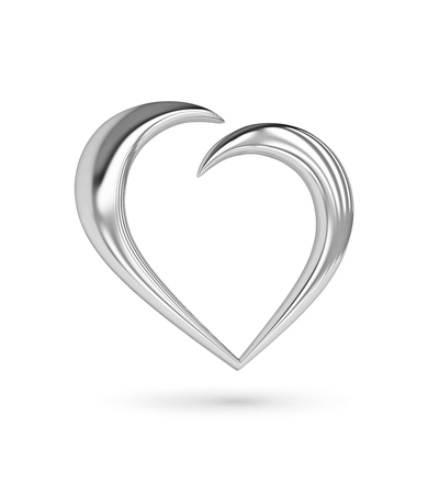 Silver heart icon on white. 3D rendering with clipping path