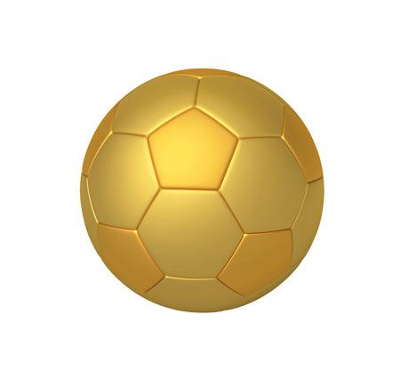 Golden soccer ball isolated on white. 3D rendering Stock Photo
