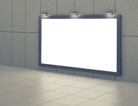 Blank billboard in underground hall. 3D rendering
