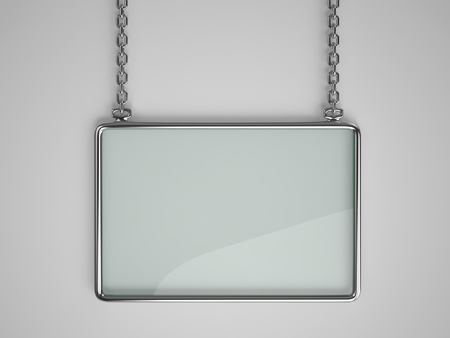 Glass board with glossy metal frame hanging on a chain. 3D rendering Stock Photo