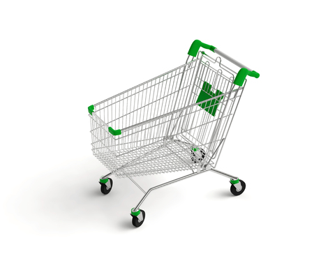 Empty shopping cart on white background. 3D rendering