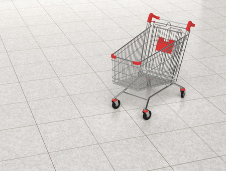 Shopping cart in shopping mall. 3D rendering