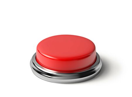 Red button isolated on white. Stock Photo