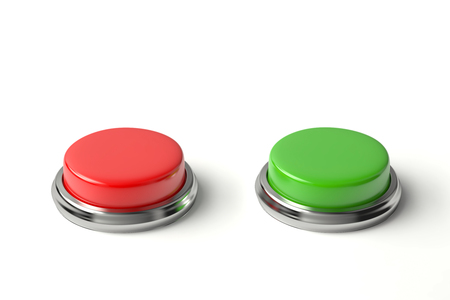 Red and green buttons on white. 3D rendering