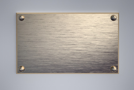 Metal signboard with screws. 3D rendering Stock Photo