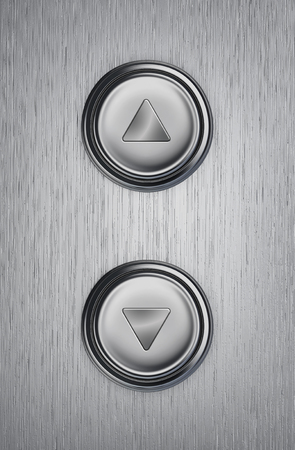 Up and down elevator buttons on a metal background. 3D rendering Stock Photo