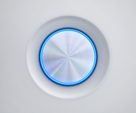 Metal button with blue glow. 3D rendering Stock Photo