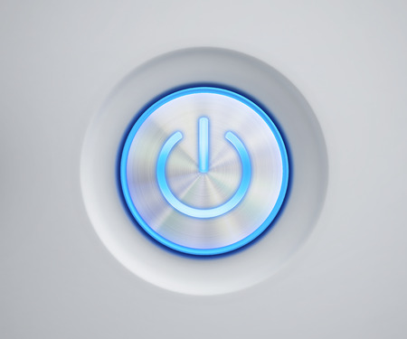 Power button with blue glow. 3D rendering Stock Photo