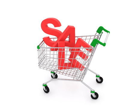 Shopping cart isolated on white, concept of discount. 3D rendering
