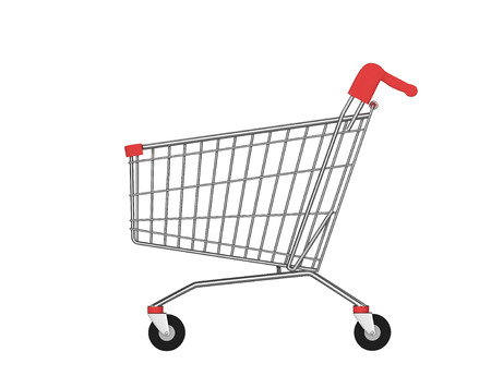 Side view of empty shopping cart isolated on white. 3D rendering Stock Photo