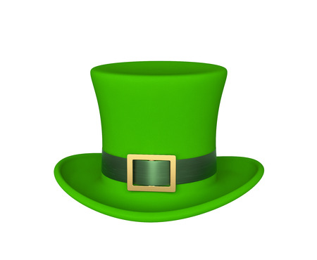 Lucky green hat for Saint Patricks Day, isolated on white. 3D rendering