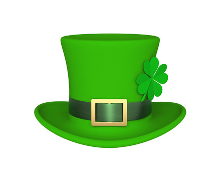 Lucky green hat with clover for Saint Patricks Day, isolated on white. 3D rendering