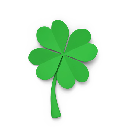 Green clover isolated on white with clipping path. 3D rendering