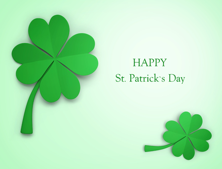 St. Patricks Day greeting. Clover background