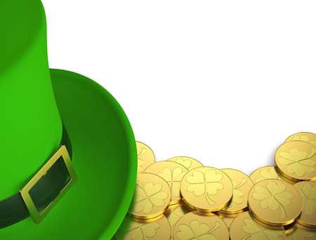 Lucky green hat with golden coins for Saint Patricks Day, isolated on white. 3D rendering 写真素材