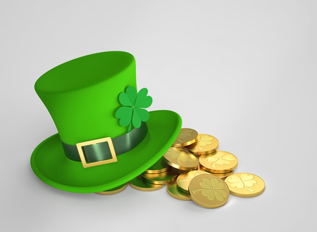 Lucky green hat with clover and golden coins for Saint Patricks Day. 3D rendering with clipping path 写真素材
