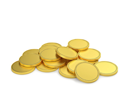 Gold coins isolated on a white. 3d rendering with clipping path