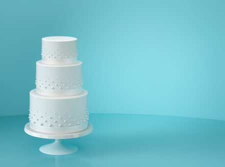 White wedding cake on blue background. 3D rendering Standard-Bild