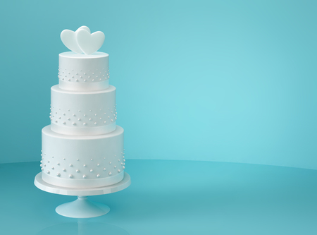 White wedding cake with two hearts on blue background. 3D rendering