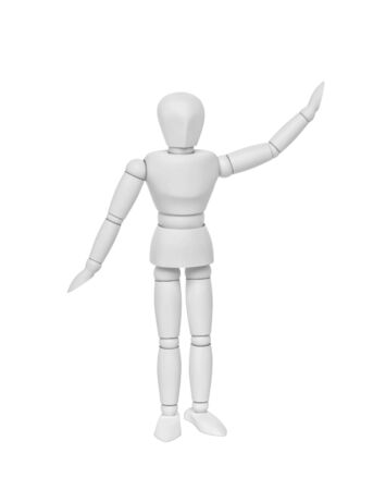 White mannequin pointing up, isolated on white. 3D rendering