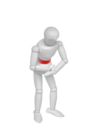3D person with stomach ache, isolated on white. 3D rendering
