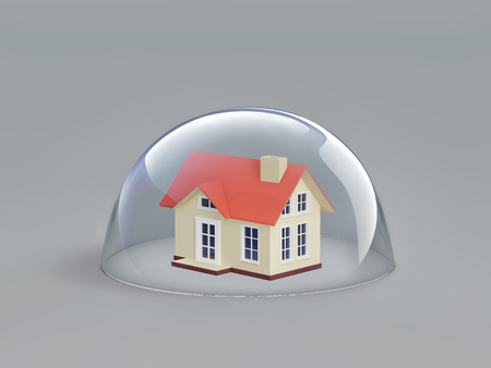Home safety. House under glass dome. 3D rendering Stock fotó