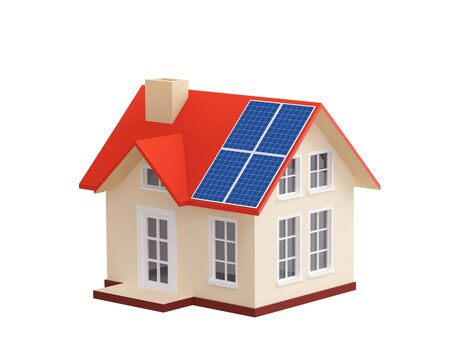 House with solar panels on a roof, isolated on white. 3D rendering Stock Photo