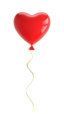Red balloon in shape of heart. 3D rendering with clipping path