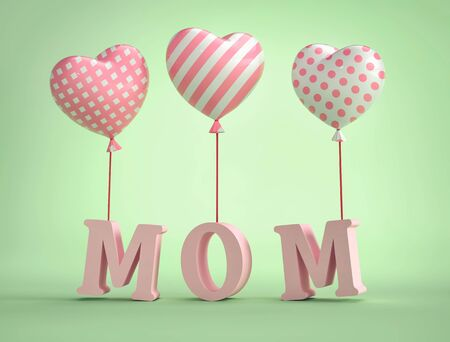 3D Mom Text with balloons in shape of heart on green background . 3D rendering