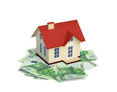 House with Euro banknotes  isolated on white. 3D rendering