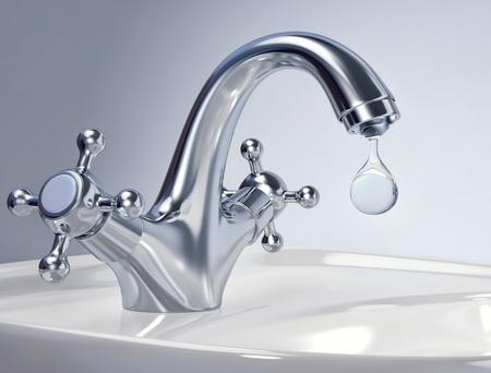 Water tap with big drop of water. 3D rendering