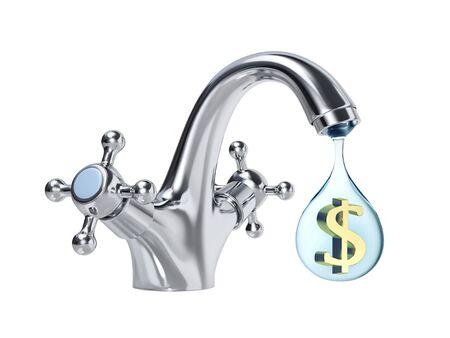 Water tap and big drop of water with dollar sign inside, isolated on white. 3D rendering Stock Photo