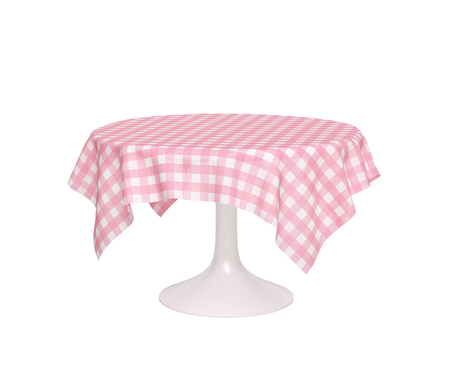 Round table with pink checkered tablecloth isolated on white. 3D rendering