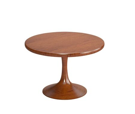 Round wooden table isolated on white. 3D rendering