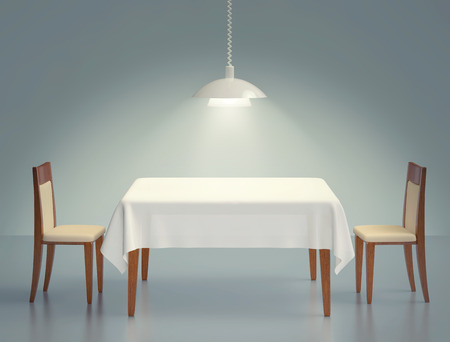 Room with wooden table, two chairs and pendant lamp. 3D rendering
