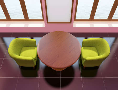 Top view of cafe interior with wooden table, green armchairs and and vertical poster on the wall. 3D rendering Stock Photo