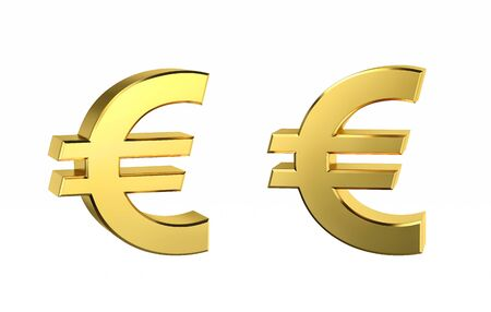 Golden Euro sign in two positions isolated on white. 3D rendering with clipping path Stock Photo