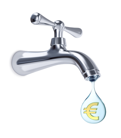 Water tap and big drop of water with Euro sign inside, isolated on white. 3D rendering