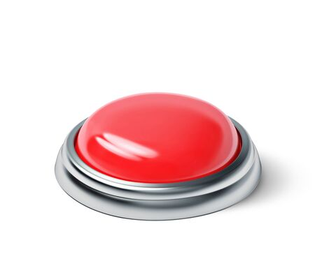 Red button isolated on white. 3D rendering with clipping path Stock Photo