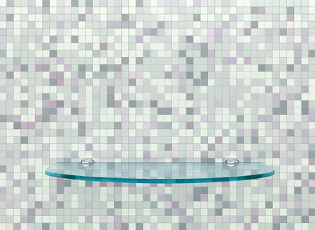 Blue glass shelf on a tiled wall in the bathroom. 3D rendering