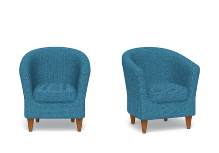 Blue striped armchairs isolated on white with clipping path. 3D rendering