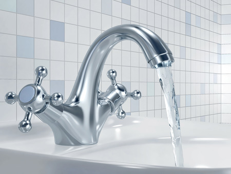 Faucet with flowing water in the bathroom. 3D rendering
