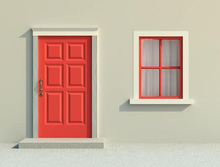 Front red door and window in sunlight. 3D rendering