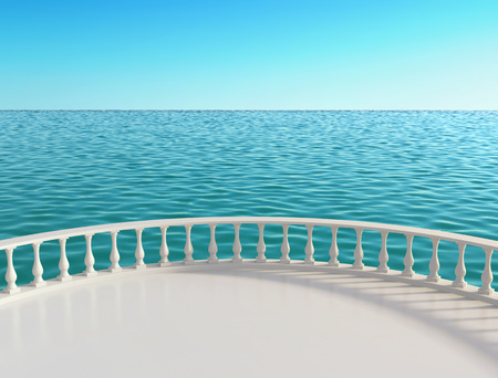 Sea view terrace at the hotel. 3D rendering Stock Photo