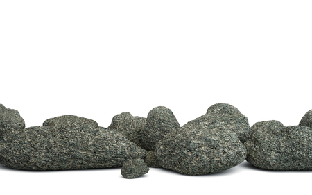 Pile of stones isolated on white. 3D rendering Stock Photo
