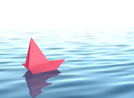 Red paper boat sailing on blue water surface. 3D rendering Stock Photo