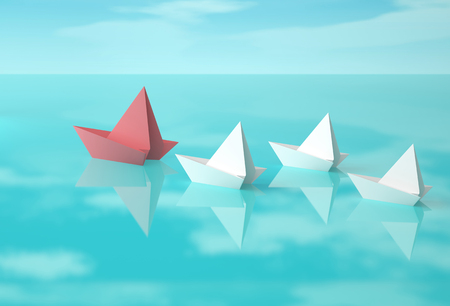 3d boat: Red and white paper boats on water surface with reflection of clouds. 3D rendering