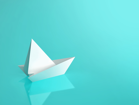 White paper boat on turquoise background with reflection. 3D rendering