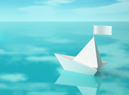 White paper boat on water surface with reflection of clouds. 3D rendering
